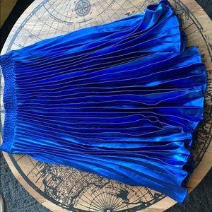 Anthropologie Pleated Metallic Blue Midi Skirt